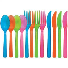 Neon Coloured Plastic Cutlery (Pack of 48)