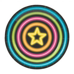 Neon Glow Party Small Paper Plates (Pack of 8)