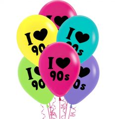 I Love the 90's Latex Balloons (Pack of 24)
