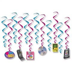 Totally 80's Swirl Decorations (Pack of 12)