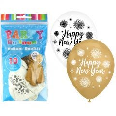 Happy New Year Assorted Metallic Balloons (Pack of 25)