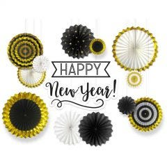 Happy New Year Paper Fan Decorating Kit (14 Pieces)
