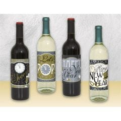 New Year Wine Bottle Labels (Pack of 4)