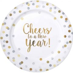 Cheers To A New Year Large Plastic Plates (Pack of 10)