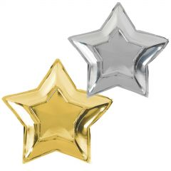Gold & Silver Foil Star Shape Paper Plates (Pack of 10)