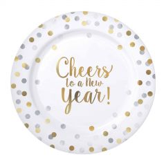 Cheers To A New Year Small Plastic Plates (Pack of 20)