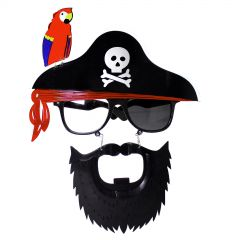 Pirate Party Glasses with Beard & Parrot