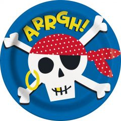 Ahoy Pirate Large Paper Plates (Pack of 8)