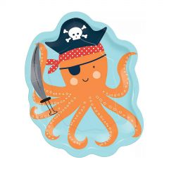 Ahoy Birthday Octopus Shaped Small Paper Plates (Pack of 8)