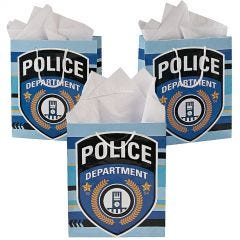 Police Party Paper Gift Bags (Pack of 12)