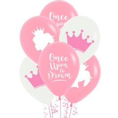 Fairtale Princess Pink & White Balloons (Pack of 6)