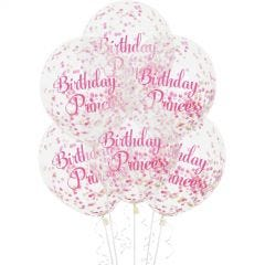 Birthday Princess Pre-filled Confetti Balloons (Pack of 6)