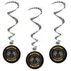 Racing Tyre Swirl Decorations (Pack of 3)