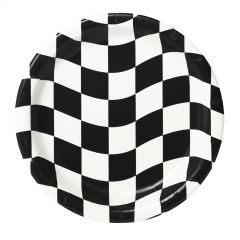 Black and White Checkered Small Paper Plates (Pack of 8)