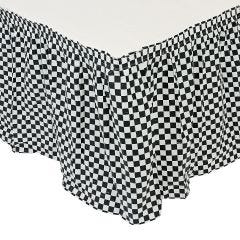 Black and White Chequered Plastic Table Skirt