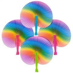 Rainbow Coloured Paper Fans (Pack of 12)