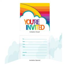 Rainbow Party Invitations (Pack of 8)