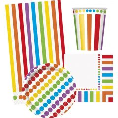Rainbow Birthday Dots and Stripes Party Pack (For 8 Guests)