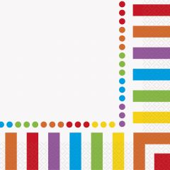 Rainbow Birthday Dots and Stripes Large Napkins / Serviettes (Pack of 16)