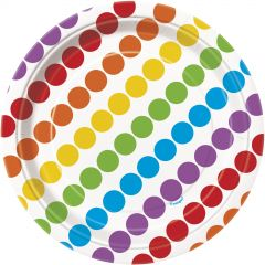 Rainbow Birthday Dots and Stripes Small Paper Plates (Pack of 8)