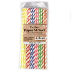 Coloured Flexible Paper Straws (Pack of 24)