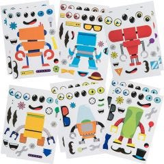 Create Your Own Robot Stickers (12 Sheets)