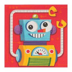 Robot Party Small Napkins / Serviettes (Pack of 16)