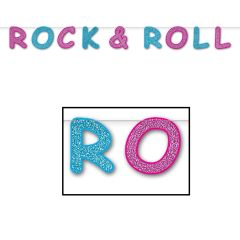 Rock and Roll Glittered Letter Banner