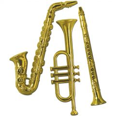 Gold Musical Instruments (Pack of 3)