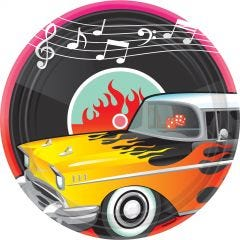 Classic 50's Rock and Roll Large Paper Plates (Pack of 8)