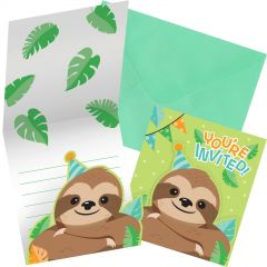 Sloth Party Invitations (Pack of 8)