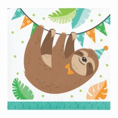 Sloth Party Small Paper Napkins / Serviettes (Pack of 16)