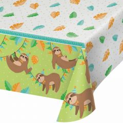 Sloth Party Plastic Tablecloth