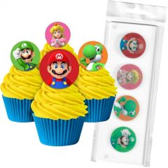 Super Mario Bros. Edible Wafer Cupcake Toppers (Pack of 16)
