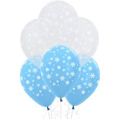 Blue Snowflake Balloons (Pack of 12)