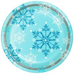 Pack of 8 large paper Snowflake Swirls plates