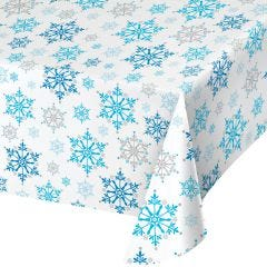 Snowflake swirls plastic party tablecloth