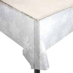 White Snowflake Clear Plastic Tablecloth