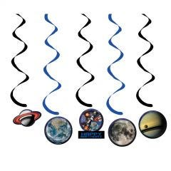Space Blast Swirl Decorations (Pack of 5)