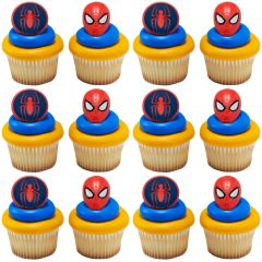Spiderman Mask and Spider Cupcake Rings (Pack of 12)