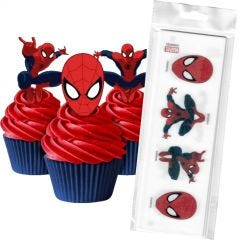 Spiderman Edible Wafer Cupcake Toppers (Pack of 16)