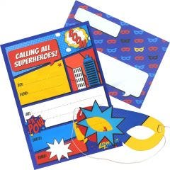Superhero Invitations With Masks (Pack of 8)