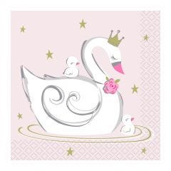 Swan Birthday Small Napkins / Serviettes (Pack of 16)