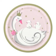 Pack of 8 Swan Birthday Small Paper Plates