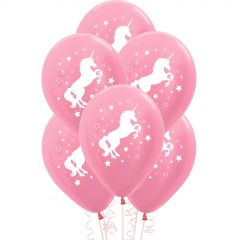 Pink Unicorn Sparkle and Stars Balloons (Pack of 6)