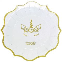 Gold Foil Dreaming Unicorn Large Paper Plates (Pack of 8)