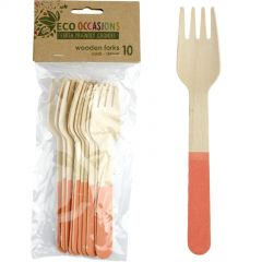Wooden Dipped Forks Coral (Pack of 10)