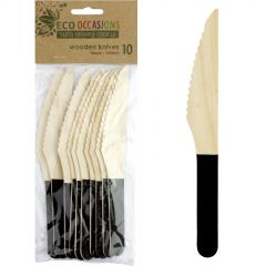 Wooden Dipped Knives Black (Pack of 10)