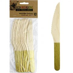 Wooden Dipped Knives Gold (Pack of 10)