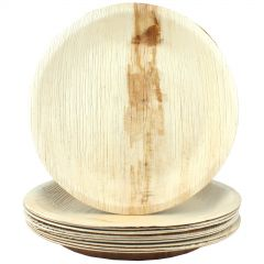 Natural Palm Leaf Large Round Plates (Pack of 6)